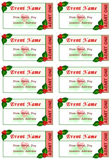 Avery Raffle Ticket Template Event Ticket Templates   Make Your Own Printable  Tickets  Printable Concert Ticket Template