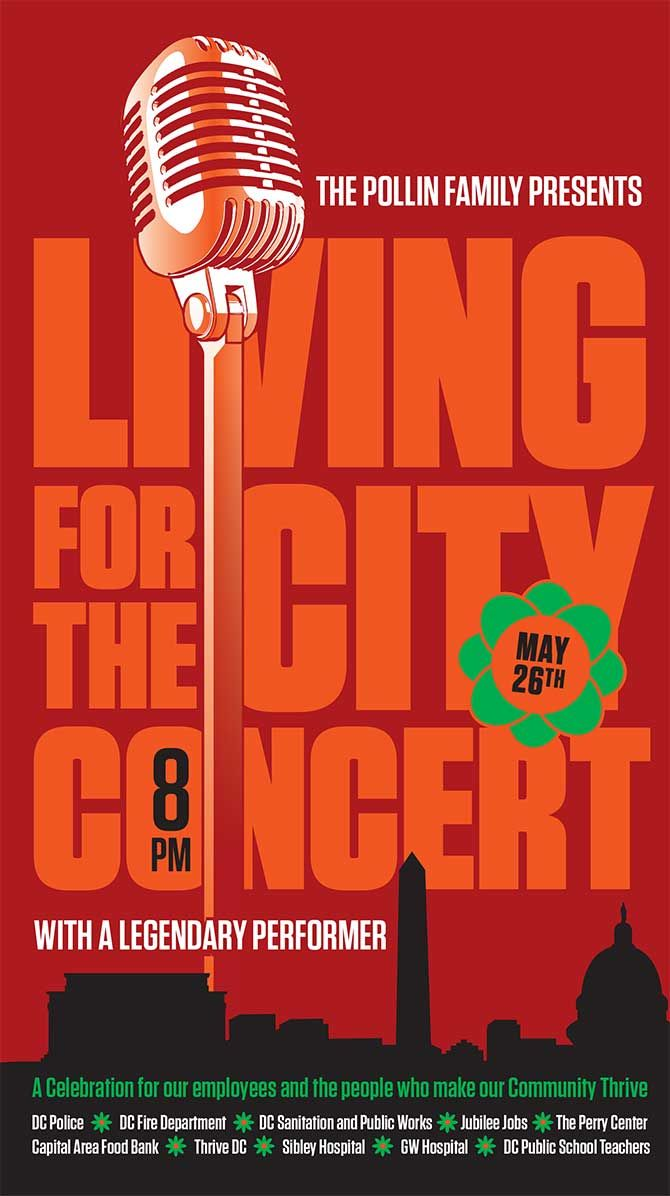 Poster design for coaching institute - Verizon Center Living For The City Concert Poster By