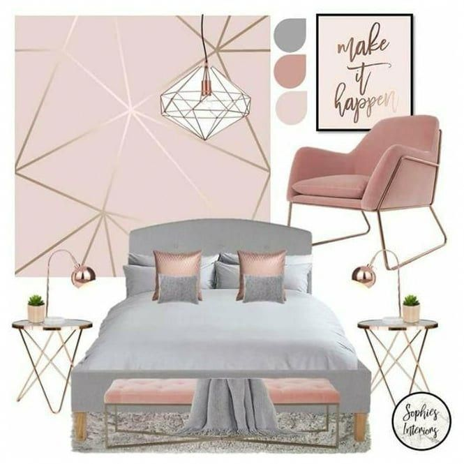 Pin By Ava Thibault On Guest Room Rose Gold And Grey Bedroom Gold Bedroom Decor Rose Gold Bedroom Decor