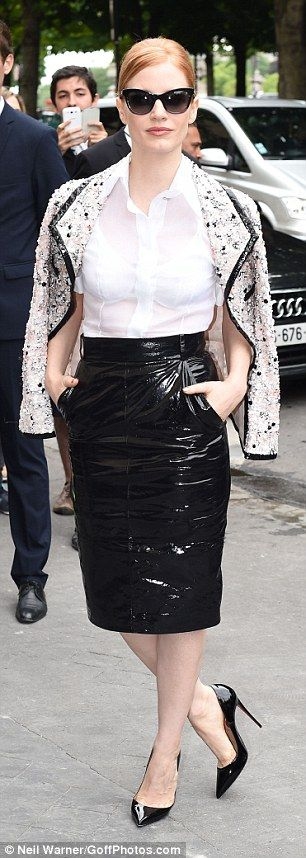 Jessica Chastain does a sexy take on classic style at Chanel show