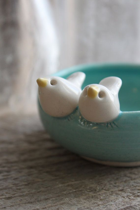 I am completely in love with these birdie bowls!!!!! Custom-Made Love Birds Mini-Bowl - 3 to 5 Weeks for Delivery. $36.00, via Etsy.