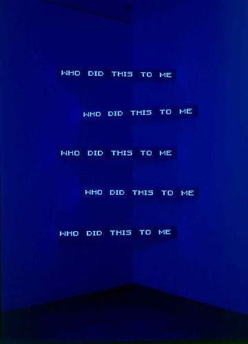 "Jenny Holzer - Blue Corner Five, 2003. 5 electronic led signs with brushed aluminium housing (bright blue) - 59,06 x 5,12 x 3""."