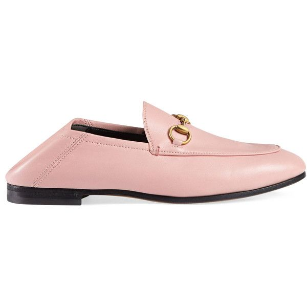 Gucci Leather Horsebit Loafer ($730) ❤ liked on Polyvore featuring shoes, loafers, light pink, moccasins & loafers, women, moccasin loafers, horse-bit loafer, loafer shoes, horse bit loafers and gucci moccasins
