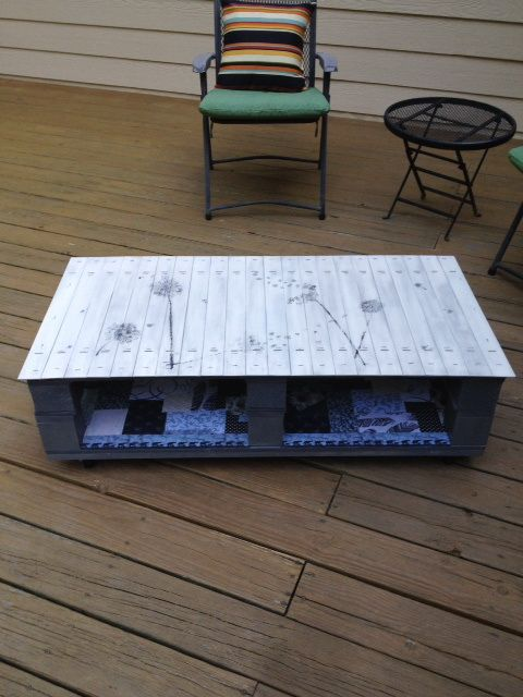 Create a pallet wood coffee table with delicate flower painting and decoupage.