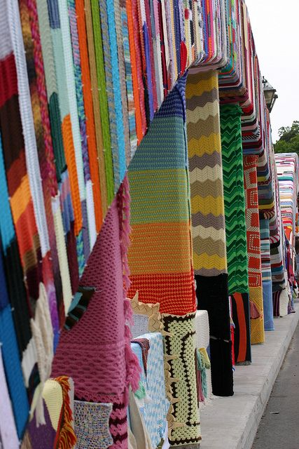 Yarn bombing, knitting graffiti. KNITcamBRIDGE kick of at Main Street Bridge.    :: photo taken by Collin Douma ::
