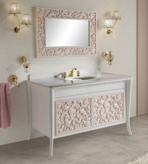 #Vanity with oval #basin love the decorative pattern work on the vanity very unusual