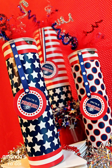 "Firecracker ""goody bags"" made from Pringles cans and filled with fun treats for the kids. #party #favors #holiday: 4Th Printables, For Kids, Pringles Can, 4Th Of July, July 4Th, Red White, Party Ideas, Firework Favor"