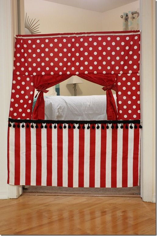 Handmade Doorway Puppet Theater. Love this idea! Use a spring rod, easy up, easy down
