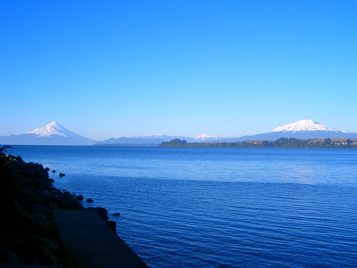 Llanquihue Lake, in winter, Luckily it wasn't raining, but it was really cold.  The volcanoes are: to the right, Calbuco; and to the left, Osorno.