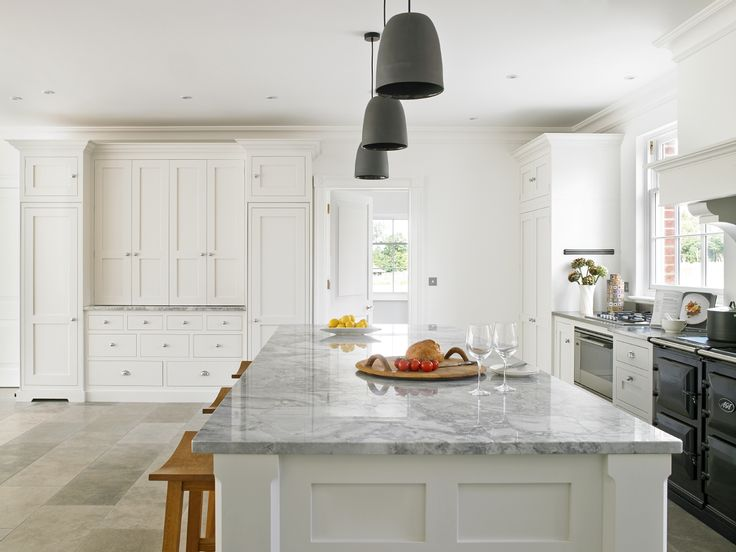 A Characterful Kitchen Design For A New Build, With Large Kitchen Island  And Stool Seating