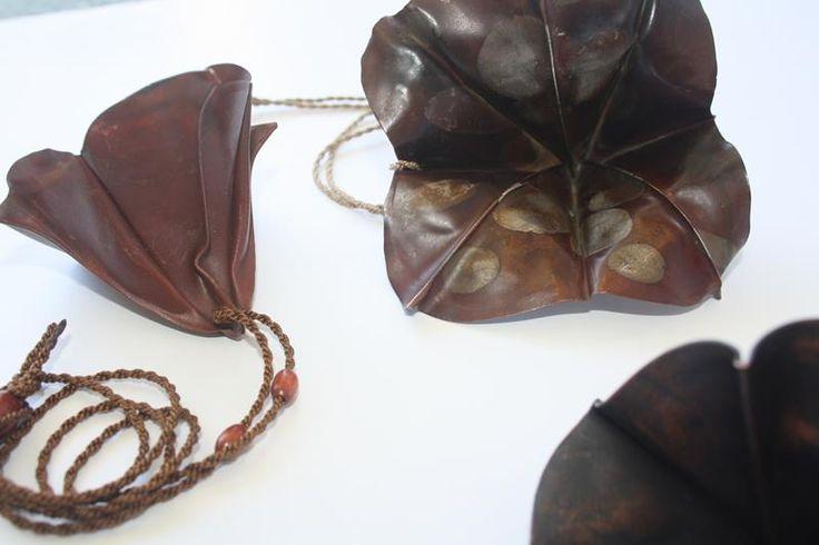 Fold Formed Pendants By Yoshiko Ito Copper,Silver, Silk cord