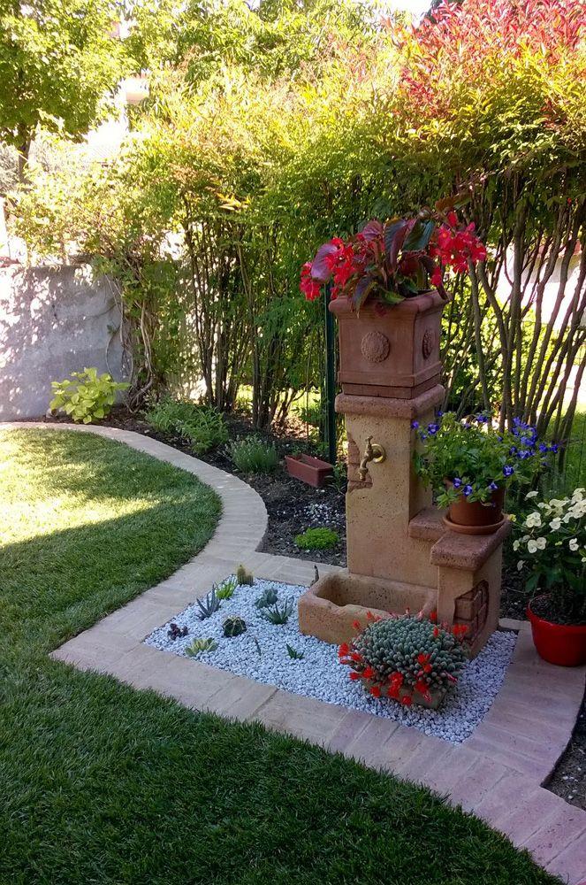 Fontana da giardino in pietra ricostruita modello: Fonte del casale easy, finitura: pietre del borgo.