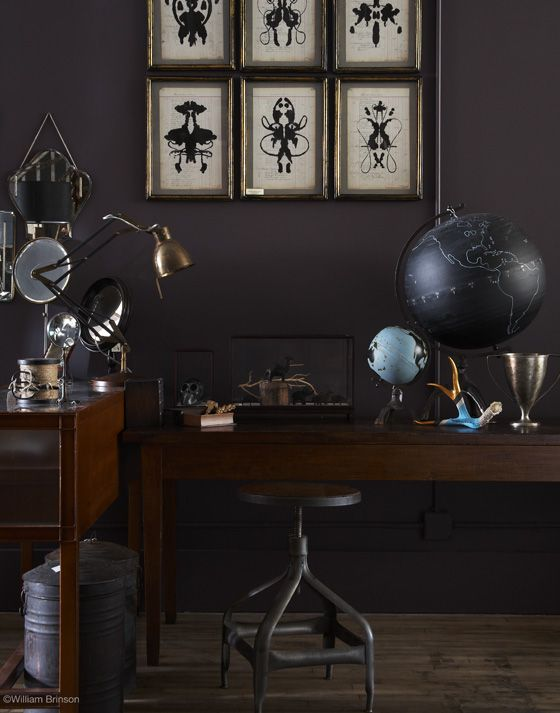 love the rorschach-inspired art and black globe. Dark InteriorsDesign ...