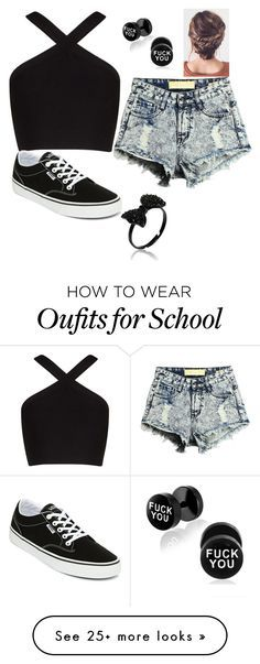 """""""school outfit"""" by pbetzy on Polyvore featuring BCBGMAXAZRIA and Vans"""
