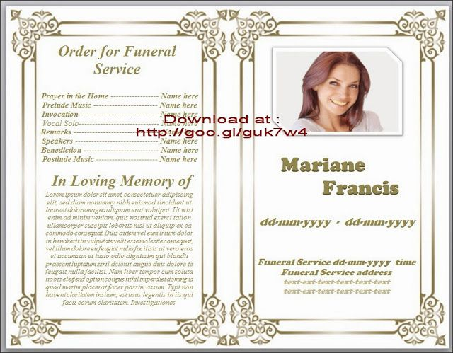 74 best Funeral Program Templates for MS Word to Download images on - memorial card templates microsoft word