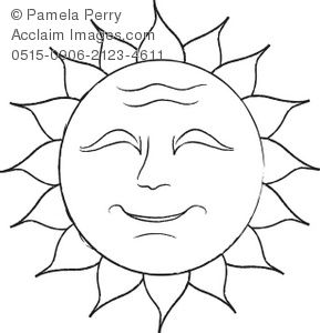 Clip Art Illustration of a Black and White Smiling Sun
