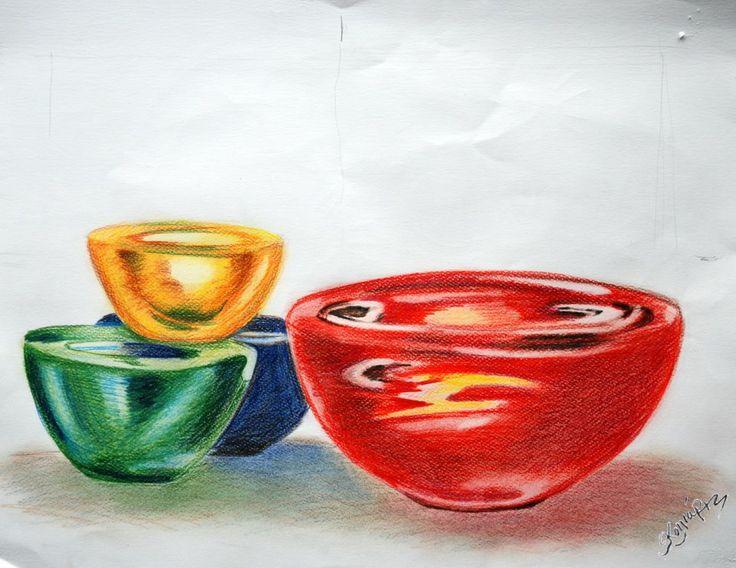Bowls. A drawing with aqua colour pencils