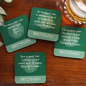 Irish Famous Quotes Personalized Coaster Set