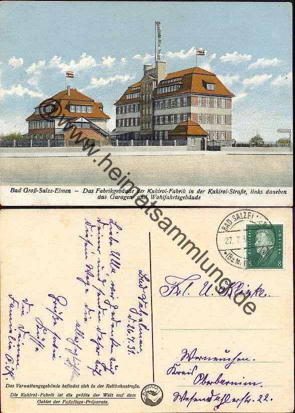 bad elmen | Bad Gross-Salze-Elmen - Fabrikgebäude Kukirol-Fabrik - Kukirolstrasse ...