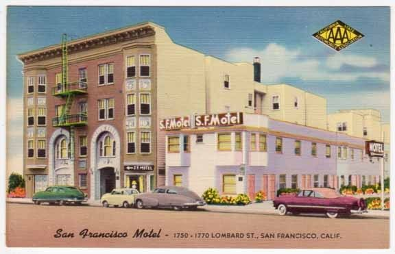 Linen Postcard of San Francisco Motel in San Francisco, California