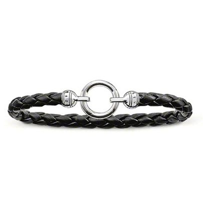 Thomas Sabo Silver 18.5cm Black Leather Bracelet LB42-008-11-M. Available at £115.00 with sterling silver clasp  and black leather bracelet.