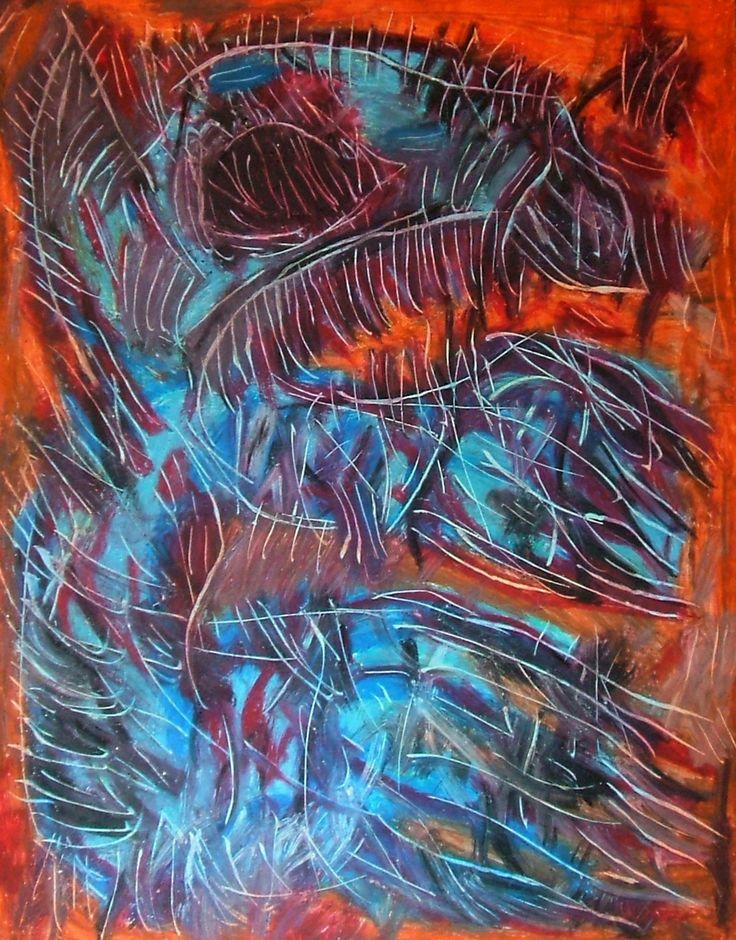 """""""Spiritello azzurro"""" 2012 Tecnica mista su cartoncino 48x38 ©Pietro Gargano"""