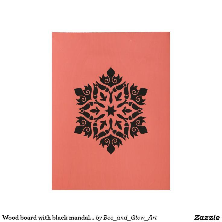 Wood board with black mandala art