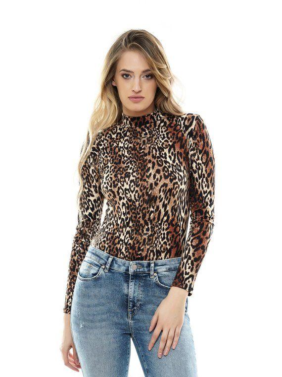 Women/'s Leopard Printed V Neck Leotard Tops Blouse Stretch Long Sleeve Bodysuit