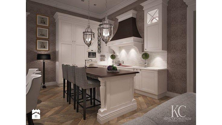 Mokotowska 8 Salon - Średnia otwarta jadalnia w salonie, styl klasyczny - zdjęcie od KCDESIGN