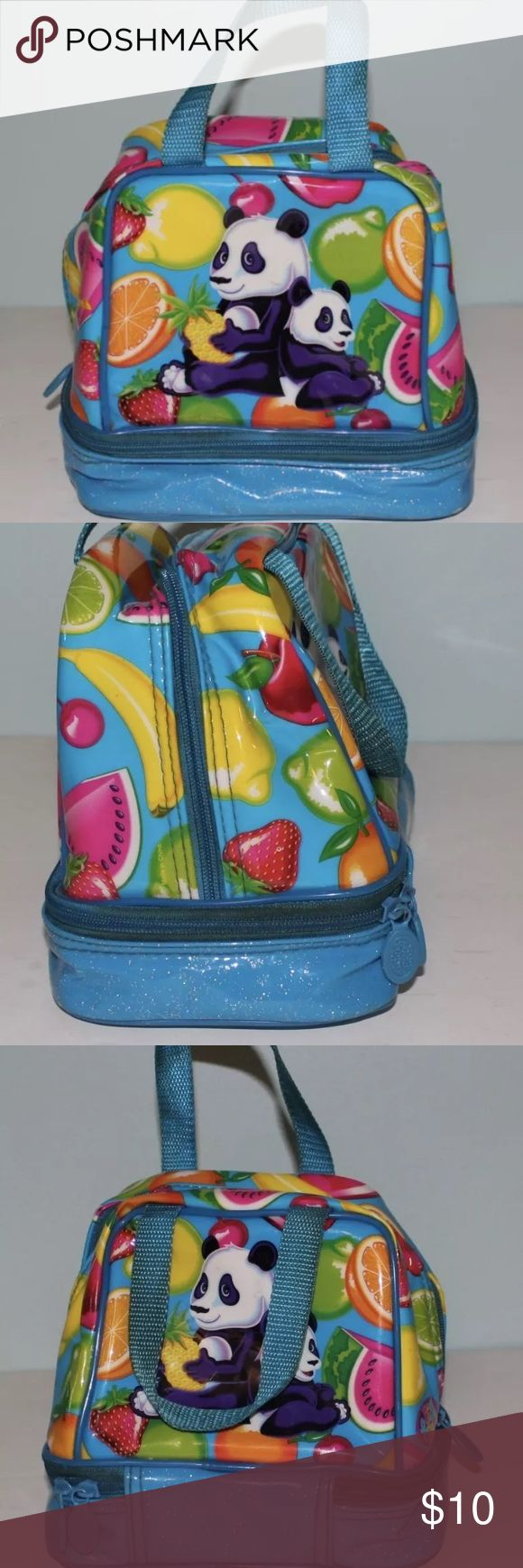 Lisa Frank Lunch Box Panda Fruit Bag has writing on bottom- please see last photo. Handles are a little dirty. Bags