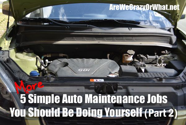 5 More Simple Auto Maintenance Jobs You Should Be Doing Yourself (Part 2)~AreWeCrazyOrWhat.net