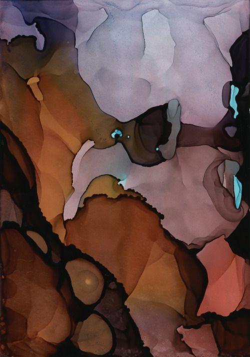 "Waveforms, alcohol inks on Claybord, 5""x3.5"", ©2013 Andrea Pramuk wwww.andreapramuk.com"