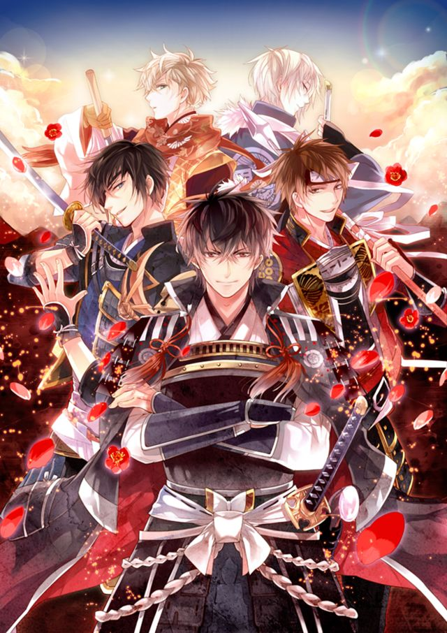 Ikemen Sengoku was launched in June 2015. The story centers on a female protagonist who accidentally  time travels back to the sengoku period of Japan in the end of the 16th century during her trip in Kyoto. Game visual.
