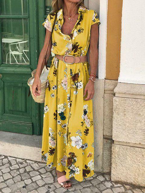 e3262abfbd Justfashionnow Shirt Dress Sundress Daily Shift Shirt Collar Holiday Short  Sleeve Floral-Print Dresses