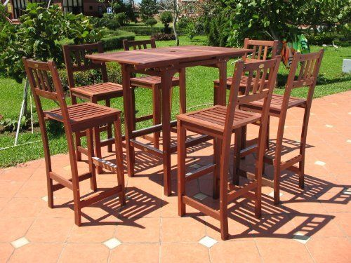 7pc Outdoor Extendable Wood Patio Dining Bar Set By AgioLiving. $659.99.  Table Extended: