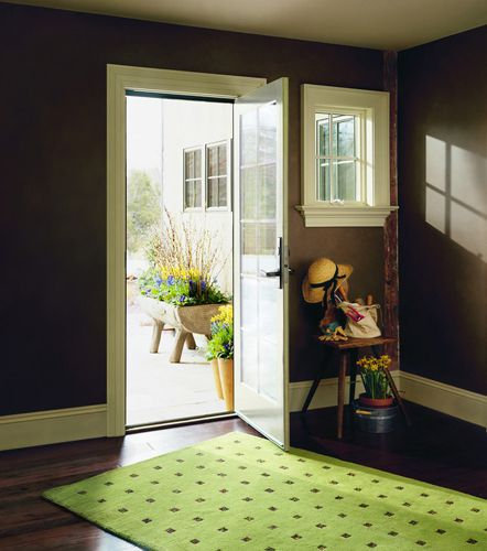 A single panel hinged in swing patio door offers for Single swing patio door
