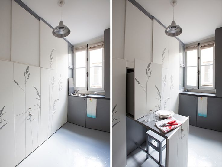 kitoko studio renovates tiny 8 sqm apartment with all the basic necessities in paris