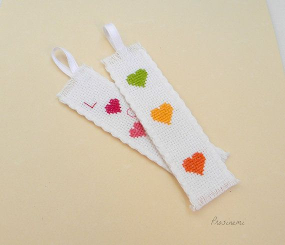 Valentine's heart tags embroidery colourful hearts by prosinemi