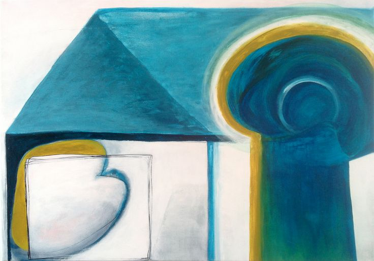 'Home is where the heart is' 120 x 100 cm, acryl op doek, 600,00 euro
