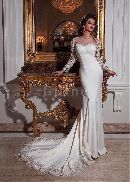 Robe de mariée luxueux en satin extensible col en bateau maillot en tulle