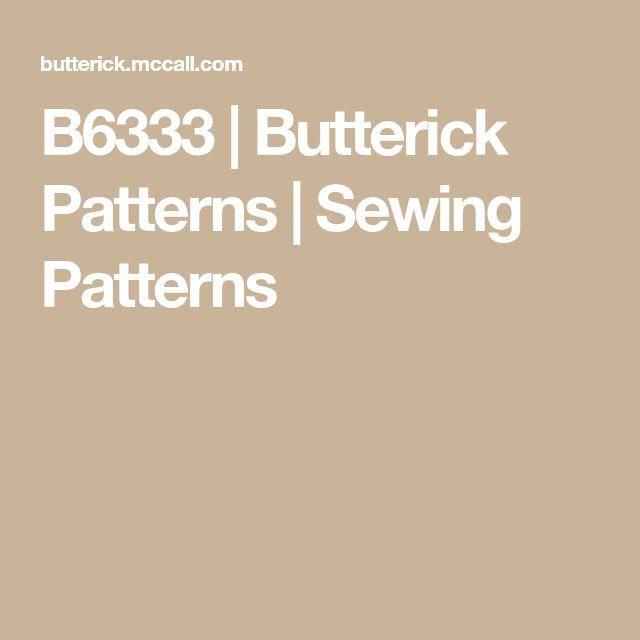 B6333 | Butterick Patterns | Sewing Patterns