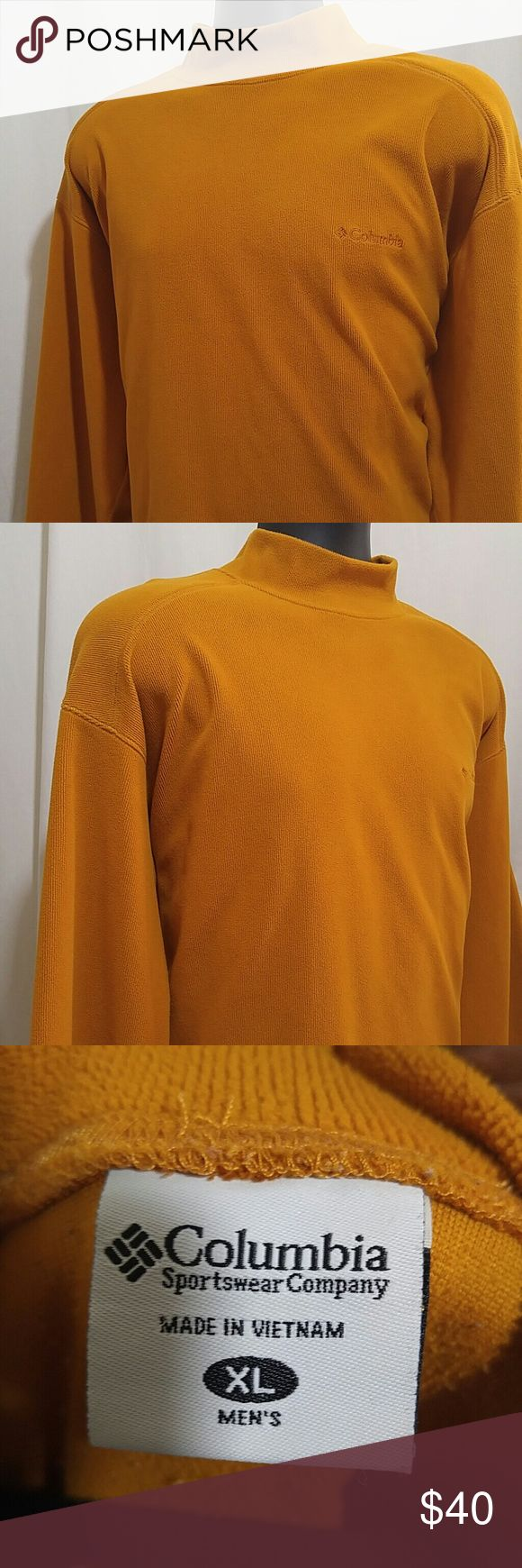 COLUMBIA MOCK Neck Sweater Size XL Stunning COLUMBIA Men's Mock Neck Sweater.  This sweater is light orange, and is a size XL.  This Men's COLUMBIA Sweater is in excellent condition. Columbia Sweaters