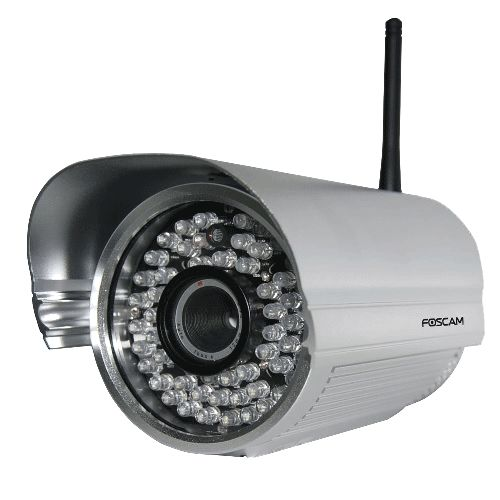 Foscam FI9805W Buitencamera zilver  HD resolutie 1280 x960 pixels (1.3 MegaPixel)  Eenvoudig zelf te installeren Gemakkelijke gebruikersinterface  Metalenwaterdichtebehuizing (IP66) voor buiten installatie  Automatische IR-LED verlichting voornachtzicht  Gebruik op afstand & opnemen vanaf elke plek op elk moment  Ondersteund Internet Explorere en elke andere standaard browser  Draadloosnetwerk IEEE 802.11b/g/n  Ondersteuning WEP WPA & WPA2 beveiliging  Bewegings detectie met alarm via…