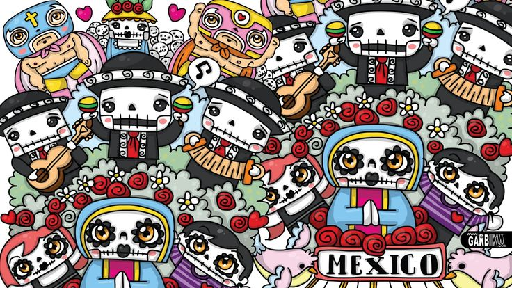 Kawaii Graffiti - Day of The Dead - Halloween Doodles by Garbi KW