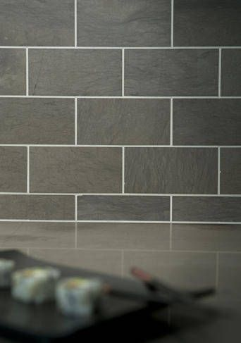 Grey Foussana Limestone Tile Backsplash