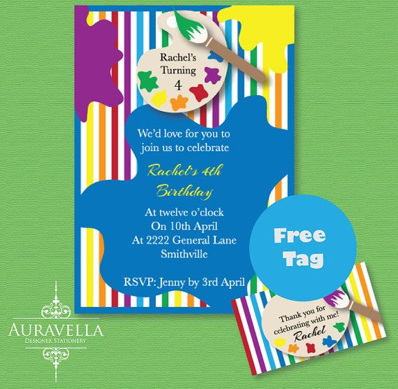 Art Party Invitation. Printable birthday invitation by Auravella