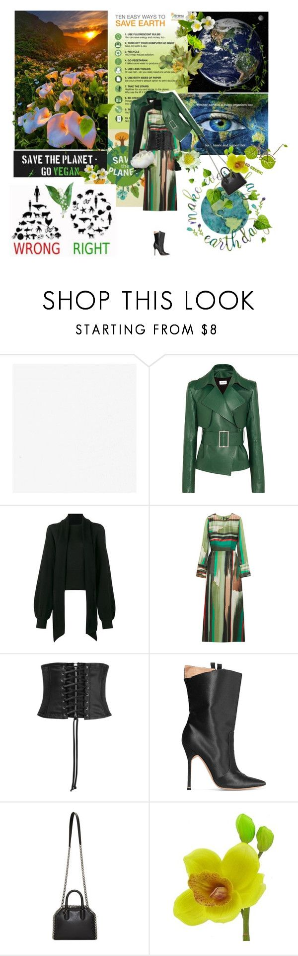 """""""keep it green"""" by la-rosy ❤ liked on Polyvore featuring Energie, Thierry Mugler, Chloé, Goen.J, McQ by Alexander McQueen, Vetements, Lily Valley, STELLA McCARTNEY, GREEN and earthday"""