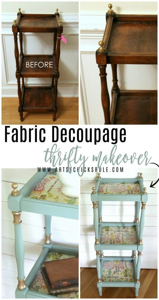 French Fabric Decoupage with Duck Egg Blue Chalk Paint artsychicksrule.com