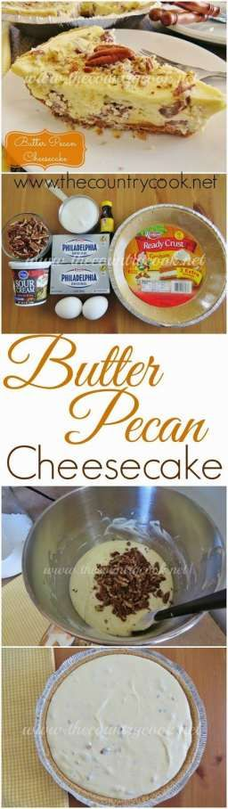 Butter Pecan Cheesecake from The Country Cook. A creamy, buttery, cheesecake filling with chopped pecans that tastes like my favorite ice cream!