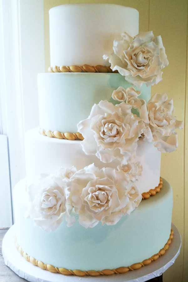 wedding cakes northern new jersey%0A C    wedding cake with aqua and white fondant layers and handmade sugar  flowers
